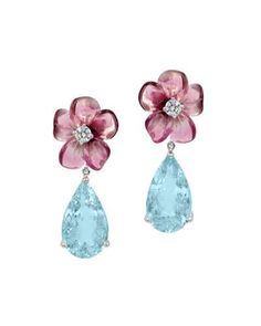 PAFGW Rina Limor Pink Tourmaline & Aquamarine Teardrop Earrings with Diamonds