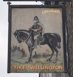 Pub Sign Art a la cARTe: The Duke of Wellington, Toynbee Street, London Pub Signs, Beer Signs, Shop Signs, Uk Pub, British Pub, London Pubs, Pub Bar, Local History, Sign Language