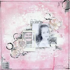 Nadia Cannizzo here with you today sharing a layout I created with the BEAUTIFUL All Is Love collection and a few Mixed Media Scrapbooking, Digital Scrapbooking, Scrapbooking Ideas, Scrapbook Page Layouts, Scrapbook Pages, Thing 1, You Are Amazing, Mixed Media Art, Pretty In Pink