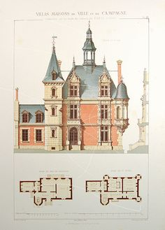 Antique Architectural Print - Architecture 1864 Villas - Maisons de Ville - SCARCE - Large folio