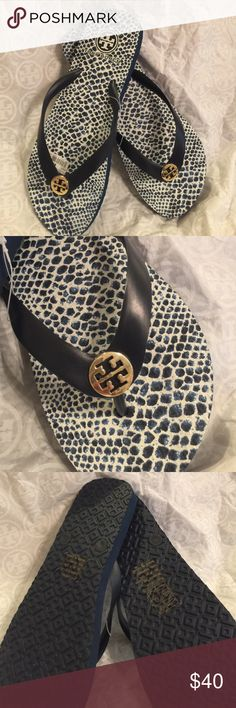 Tory Burch navy & white flip flops, size 8, NWT! Super cute Tory slippers feature a snakeskin print foot bed that shows just enough! Iconic TB logo adds that touch of bling. Tory Burch Shoes
