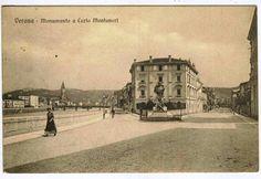Verona - Monumento a Carlo Montanari e il lungadige Sammicheli - cartolina anni 1910