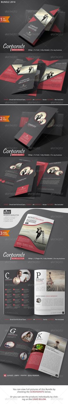 Rite Corporate Brochure Template to boost your profit of your business through a high end marketing strategy. Check out these templates which are very affordable. With some dollars you can get two great brochure design with a 12 pages newsletter. Creative Brochure, Corporate Brochure, Corporate Design, Brochure Design, Brochure Ideas, Pamphlet Design, Leaflet Design, Brochure Format, Brochure Template