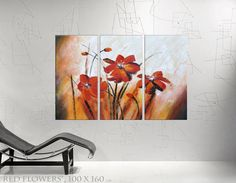 Red Flowers large painting floral wall art daisy  by KsaveraART, ab €105.00
