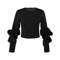 Simone Rocha Ruffled Sleeve Stretch-Neoprene Top ($690) ❤ liked on Polyvore featuring tops, black, flutter sleeve top, frilly tops, stretch top, stretchy tops and ruched tops
