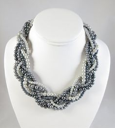 Multi-Strand Braided Silver Pearl Necklace