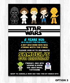 Star Wars Invitation Star Wars Birthday Invitation by KidzParty