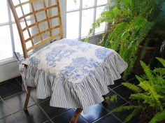 Toile and Ticking Stripe Chair Ticking Fabric, Ticking Stripe, Striped Chair, Dining Room Chair Cushions, French Country Decorating, Slipcovers, Fun Projects, Upholstery, Comfy
