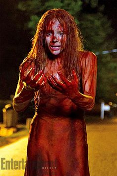 """EW.com has your first look at Chloe Moretz recreating one of cinema's most iconic moments, when Carrie White gets covered in pig's blood, in the 2013 remake of Stephen King's Carrie!    Of the scene, Chloe said, """"We only have, like, four chances to get it right because that stuff stains your hair."""" http://insdr.co/OyxlgT"""
