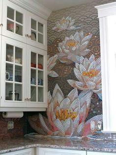WHOA! Wall heck of a mosiac tile job. i think very cool.