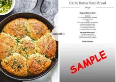 garlic-butter-keto-bread-thumb No Carb Recipes, Diet Recipes, Cooking Recipes, Healthy Recipes, Bread Recipes, Healthy Breads, Muffin Recipes, Recipes Dinner, Lowest Carb Bread Recipe