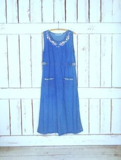 90s vintage blue jean denim floral pullover sleeveless dress/minimalist chambray maxi dress/embroidered floral denim/medium by GreenCanyonTradingCo on Etsy