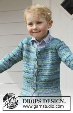 """a053eb41c25 Crochet DROPS jacket in """"Fabel"""". Size 3 - 12 years. Free pattern"""