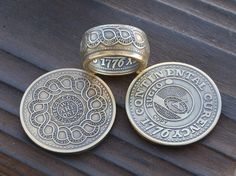 Continental Dollar Fugio Dollar Copy Coin Ring by JasonsWorks, $85.00