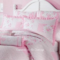 TWIN QUILT & RUFFLE SHAM SHABBY PINK ROSES COTTAGE STRIPES PATCHWORK CHIC QUILT SET