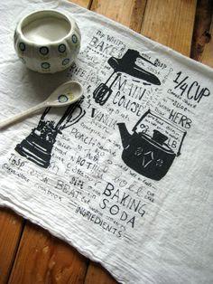 Screen Printed Organic Cotton Kitchen Gadget Flour Sack Tea Towel - Eco Friendly Dish Towel. $10.00, via Etsy.