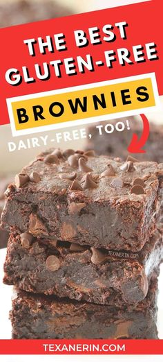 The best gluten-free brownies! So fudgy, gooey, and incredibly easy to make. If you're looking for truly delicious gluten-free brownies, look no further. They can also be made with whole wheat for a non-GF version and are dairy-free, too. Best Gluten Free Brownies Recipe, Gluten Free Snacks, Vegan Snacks, Dairy Free Recipes, Vegan Gluten Free, Flour Recipes, Paleo, Healthy Sweets, Healthy Baking