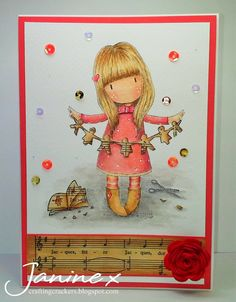Sugar Nellie Design Team card using Gorjuss 'I Found My Family In A Book' @ www.funkykits.co.uk and Inktense Pencils