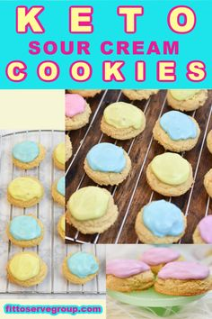 Sour Cream Icing, Sour Cream Cookies, Keto Cookies, Sugar Cookies, Low Carb Sweets, Low Carb Desserts, Ketogenic Recipes, Keto Recipes, Scone Recipes