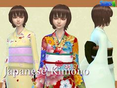 Japanese Kimono for female in 4 patterns Found in TSR Category 'Sims 4 Female Everyday'