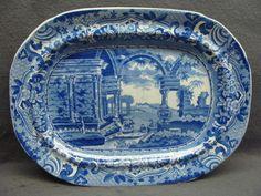 Dark Blue Staffordshire Transferware Platter Ancient Rome