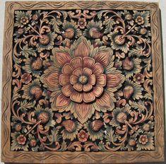 High relief 2ft x 2ft multi color teak floral panel.