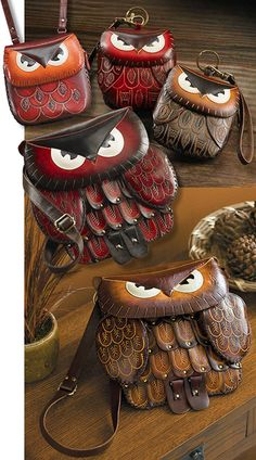 "OWL PURSES ~ Purse-en-OWL-ity! ""Hoo""can resist these marvelous hand-tooled leather purses. Large purse features hand-pieced leather feathers on the front, two zip ""wing"" exterior pockets and big bright eyes on the flap. The smaller shoulder bag and wristlets are hand-tooled and dyed leather. Genuine cowhide leather, all straps are easily adjustable (except the wristlets)"
