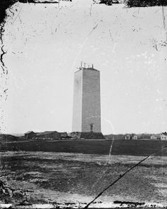 Washington Monument in 1861. Just a stump. The grounds were used as grazing for cattle that would feed the Union army there to protect the city.