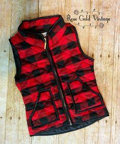 Buffalo Plaid Vest for Girls – Rose Gold Vintage