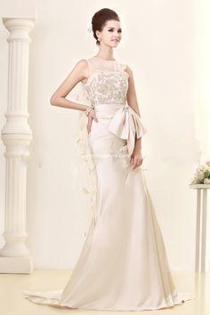 Gorgeous A-line Bateau Floor-Length Chapel Appliques Sandra's 2015 Wedding Dress