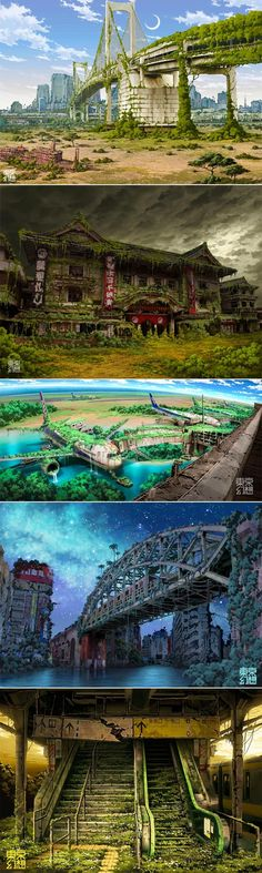 World of the abandoned. The illustrations of TokyoGenso (a. Tokyo Fantasy) depict a post-apocalyptic Tokyo abandoned and overtaken by nature. 3d Fantasy, Fantasy Landscape, Fantasy World, Final Fantasy, Post Apocalypse, Environment Concept Art, Environment Design, Arte Zombie, Rpg Cyberpunk