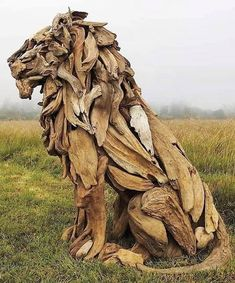 animal sculptures the sheer character and natural warmth behind every component of this driftwood lion is evident throughout. claim yours. Art Sculpture En Bois, Driftwood Sculpture, Driftwood Art, Lion Sculpture, Abstract Sculpture, Driftwood Ideas, Sculpture Ideas, Tree Sculpture, Modern Sculpture