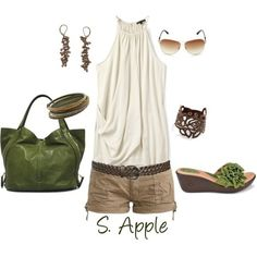 I really enjoy the natural color ensemble here. I love greens, browns and neutrals together. This outfit is adventurous and hints at exotic.