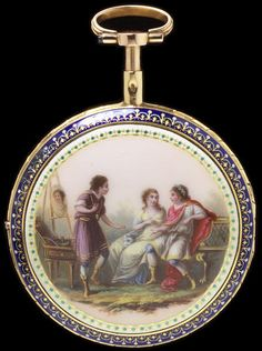 Enamelled Gold Watch - Paris, France   c. Early 19th Century