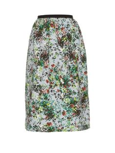ERDEM Lizzie Field Flower-Print Gathered-Waist Skirt. #erdem #cloth #skirt