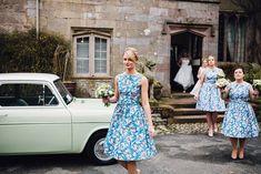 Floral Ditsy Print Bridesmaid Dresses | Travel Theme Decor | Vintage Maps | Rustic Barn Reception | Spring Wedding | Image by Samuel Docker Photography | http://www.rockmywedding.co.uk/lorna-george/