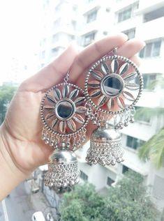 How To Make Silver Bracelets Key: 8478857184 Indian Jewelry Earrings, Jewelry Design Earrings, Silver Jewellery Indian, Gemstone Earrings, Bridal Jewelry, Silver Jewelry, Silver Jhumkas, Silver Earrings, Silver Ring