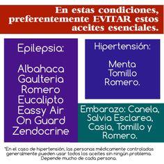 Aceites a evitar con epilepsia, hipertensión o embarazo.