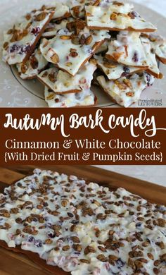 This Delicious Autumn Bark Candy Recipe Jas All The Flavors Of Fall: Dried Fruit, Cranberries, Nuts, And Pumpkin Seeds In A White Chocolate and Cinnamon Bark Base. Simple Fall Recipe Perfect For Fall Harvest Parties Or A Hostess Gift. Pumpkin Recipes, Fall Recipes, Sweet Recipes, Holiday Recipes, Köstliche Desserts, Delicious Desserts, Dessert Recipes, Yummy Food, Fall Candy