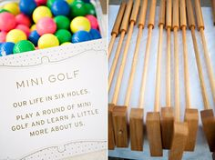 The bride's father made a mini golf course for the reception telling the story of how they met up to their marriage!