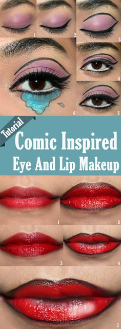 Comic Inspired Eye And Lip Makeup – Tutorial With Detailed Steps And Pictures