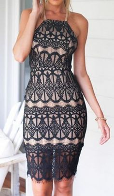 Fashion trends | Cream and black lace dress