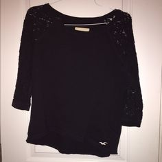 Lace sleeved Hollister shirt This cotton navy blue Hollister shirt with lace sleeves is used. However, it has only been worn a couple of times. Hollister Tops