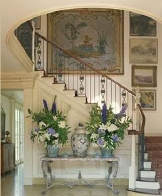 Gorgeous foyer...with blue and white