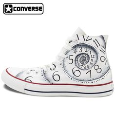 cheap for discount c30e8 d3591 Unique Sneakers Custom Design Clock Converse All Star Hand Painted Shoes  High Top White Canvas Shoes Personalized Gifts Men Wome