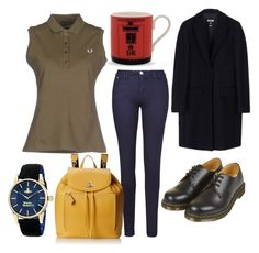 """""""T.I.E"""" by kyalouise on Polyvore featuring Fred Perry, Armani Jeans, Dr. Martens, MSGM, Halcyon Days and Vivienne Westwood"""
