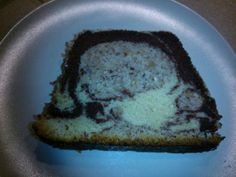 """""""Moist marble cake trio"""" - Today I learned: bad light can make a slice of marble cake look like an x-ray of your skull."""
