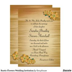 Rustic Flowers Wedding Invitation 50% off