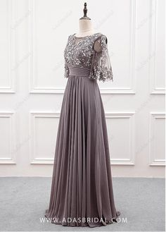 Buy discount Wonderful Tulle & Chiffon Bateau Neckline A-line Mother Of The Bride Dress With Sequin Lace Appliques at Dressilyme.com