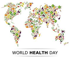 Nutrition food for healthy life, world health day concept. cartoon world map. Health Facts, Health Quotes, Healthy Life, Healthy Living, Healthy Nutrition, World Health Day, Care Logo, Health Lessons, Health Logo